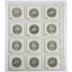 Lot (12) Canada Silver Dollars - BU - UNC 1965 and