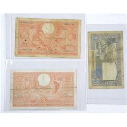 Lot (3) World Notes France 1940 - 20 Francs 2x100