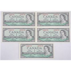 Lot (5) Bank of Canada 1954 - One Dollar Note. UNC
