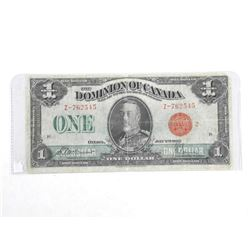 Dominion of Canada 1923 One Dollar Note. Red Seal