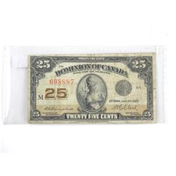 Dominion of Canada Twenty Five Cent Note (VG)