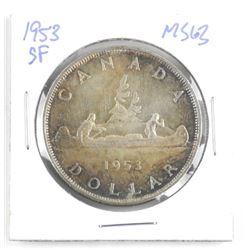 1953 Canada Silver Dollar Coin. MS63