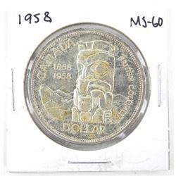 1958 Canada Silver Dollar. MS60