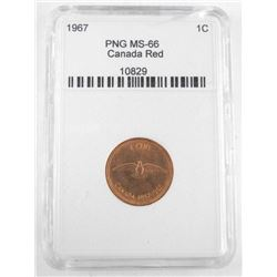 1967 CANADA 1 Cent PNG MS-66. Canada Red (CE)