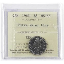 1964 Canada 5 Cent MS-63. Extra Waterline ICCS. (S