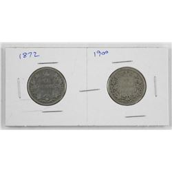 Lot (2) Victoria Canada Silver 25 Cent - 1872 - 19