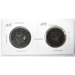 Lot (2) USA Large One Cent 1835 and 1853