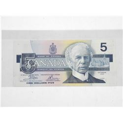 Bank of Canada 1986 Five Dollar Note. Choice UNC