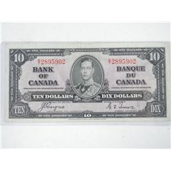 Bank of Canada 1937 - Ten Dollar Note. VF. BC-24c