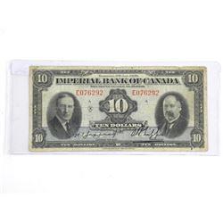 Imperial Bank of Canada Jan 1939 Ten Dollar Note