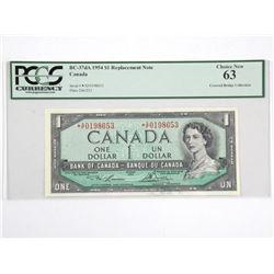 Bank of Canada 1954 One Dollar *Replacement Note U