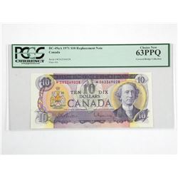 $10 1971 Replacement Note - Canada. PCGS Certified