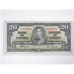 Bank of Canada 1937 - Twenty Dollar Note. (F) BC25