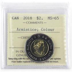 2018 $2.00 Coin 'Armistice' MS65. ICCS (ER)