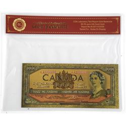 24 Carat Gold leaf $1000.00 Bank Note Canada