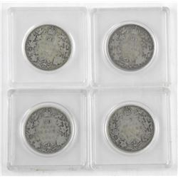 Lot (4) Canada Silver 50 Cent 1913, 1916, 1917, 19