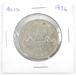 1936 Canada Silver Dollar. AU-50