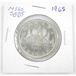 1965 CANADA Silver Dollar MS60. SB-B5