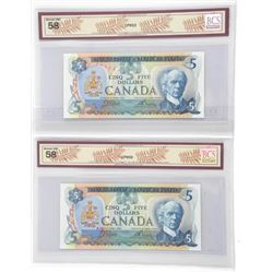 Lot (2) Bank of Canada 1979 Five Dollar Note. BC-5