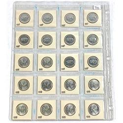 Lot (20) Canada Silver 1966-1967 BU UN 25 Cent