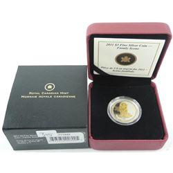 2011 - $3.00 .9999 Fine Silver Coin Family Scene #