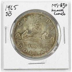 1965 Canada Silver Dollar. SB. MS63+ Heavy Cameo