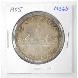 1955 Canada Silver Dollar. MS60