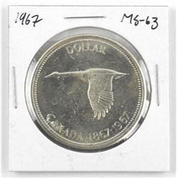 1867-1967 Canada Silver Dollar. MS63. Heavy Cameo