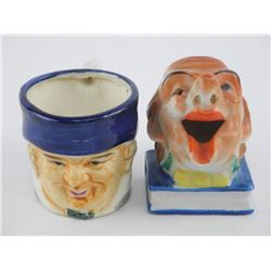 Lot (2) Estate Toby Jug and Clown, Hand Painted