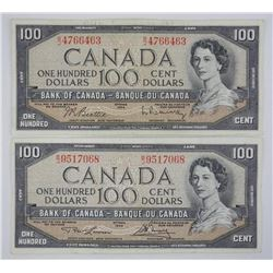 Lot (2) Bank of Canada 1954 100.00 2 Signature Set