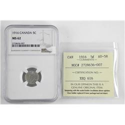 1916 Canada 5 Cent. NGC. MS6. ICCS. AU58