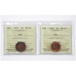 Lot (2) Canada 1 Cent 1951 - MS64. 1958 - MS65. IC