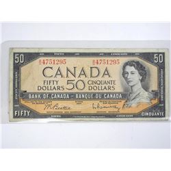 Bank of Canada 1954 Fifty Dollar Note. Modified Po