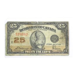 Dominion of Canada 1923 - Twenty Five Cent Note