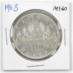 1963 Canada Silver Dollar. MS60.