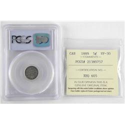 1889 Canada 5 Cent PCGS. VF35. ICCS. VF30