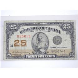 Dominion of Canada 1923 Twenty Five Cent Note