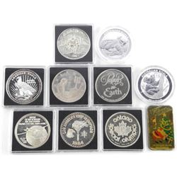 (10) Mixed Silver Bullion (.999 Fine Silver) Coins