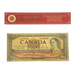 BOC $1,000 Gold Leaf Note with COA.