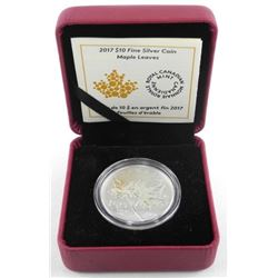 2017 .999 Fine Silver $10.00 Coin Maple Leaves. LE