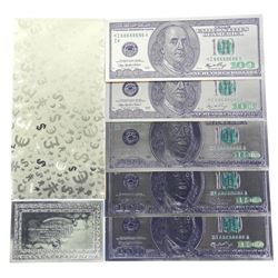 Lot (5) 24kt Gold Leaf USA 100.00 Collector Notes