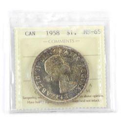 1958 Canada Silver Dollar. MS65. ICCS (KXR)