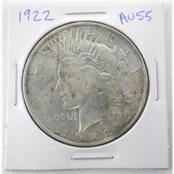 1922 USA Silver Peace Dollar. AU-55