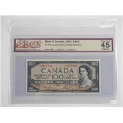 Bank of Canada 1954 One Hundred Dollar Note. Modif