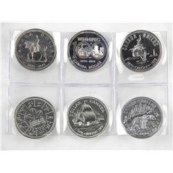 Lot (6) Canada Silver Dollars: 1973, 1974, 1975, 1