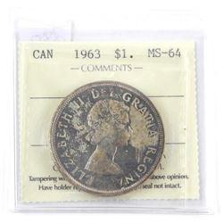 1963 Canada Silver Dollar ICCS. MS-64åÊ