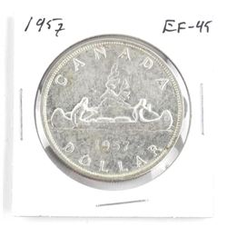1957 Canada Silver Dollar. EF-45Â