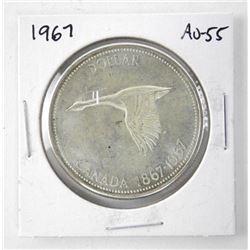 1967 Canada Silver Dollar. AU-55