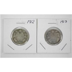 Lot (2) George V 1912 and 1917 Silver 25 Cent