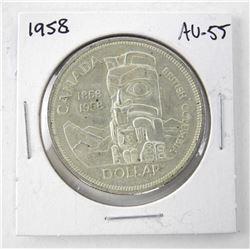 1958 Canada Silver Dollar. AU-55